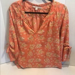 Floral Blouse Orange Sunkist M Lauren Conrad